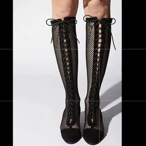 JEFFREY CAMPBELL bLacK lace up MESH BOOTS granny